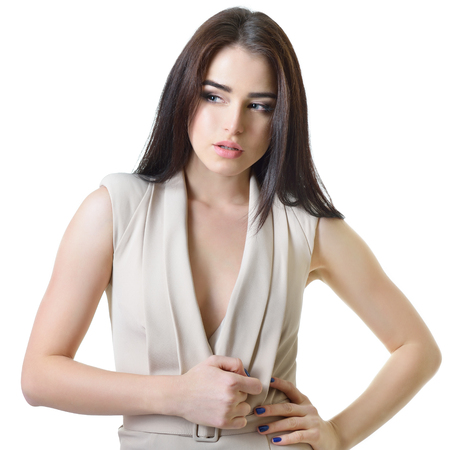 tempter: Tempter. Seductive young woman, over white. Stock Photo