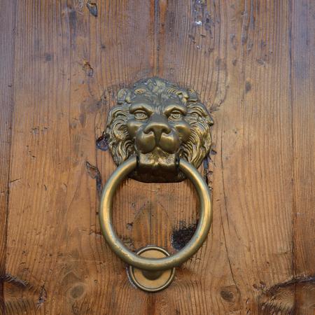 knocker: Antique door knob with lions head on old wooden obsolete door, Rome, Italy