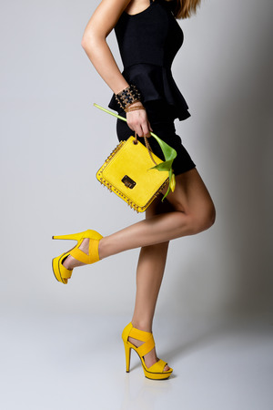 Fashion girl. Young woman posing in black dress and yellow handlbag and shoes photo