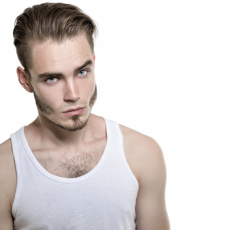 viso uomo: Ritratto di giovane uomo, isolato su sfondo bianco, immagine tonica. Archivio Fotografico