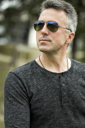 manful: Handsome man. Outdoor male portrait. Stock Photo