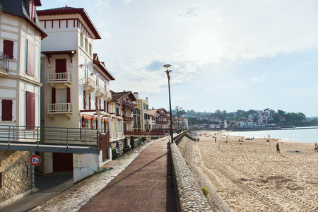 Landscape of Saint-Jean-de-Luz, France. Panoramic of luxure French balneological resort Saint Jean de Luz, Aquitaine. Stock Photo
