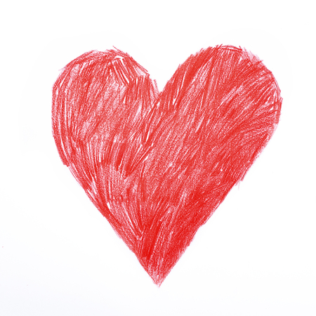 Heart. Red heart sigh rough childish pencil drawing. Love, declaration of love, health care, healthy lifestyle, prophylaxis of heart disease, cardiology, valentines day concept.