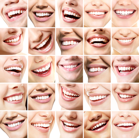 Beautiful smiles set. Perfect wide smiles of young fresh women and men with great healthy white teeth, isolated over white background. Dental care, whitening, stomatology, restoration of teeth, prosthetics, oral hygiene concept. Smiley faces details. photo