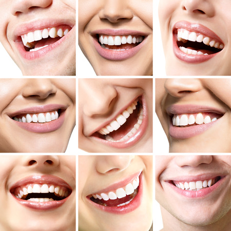 Beautiful smiles set. Perfect wide smiles of young fresh women and men with great healthy white teeth, isolated over white background. Dental care, whitening, stomatology, restoration of teeth, prosthetics, oral hygiene concept. Smiley faces details.