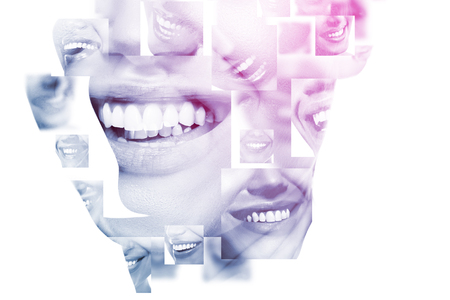 Double exposure of laughing people with great teeth and female face closeup. Healthy beautiful female smiles. Teeth health, whitening, prosthetics and care.