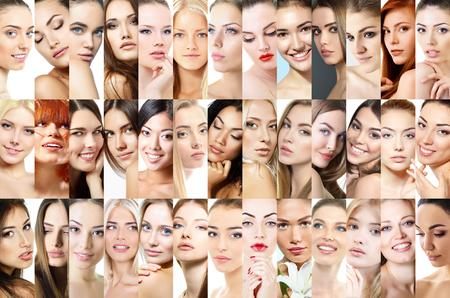 Set of beautiful women's studio portraits. 39 different female faces. Caucasian, asian, african and latino amazing women. Beauty. photo