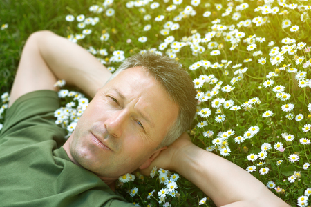 potěšen: Handsome happy smiling middle-aged man lying on summer meadow green grass with daisy