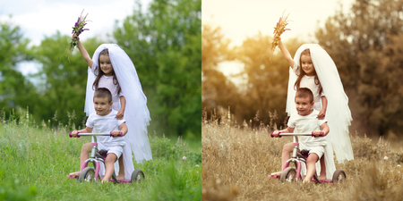 Young bride and groom playing wedding summer outdoor. Children like newlyweds on bicycle. Retouch before and after. Power of retouching.