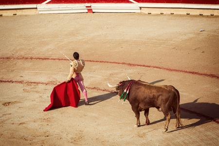spanish bull: Bullfighting. Corrida in Pamplona, Navarra, Spain Stock Photo