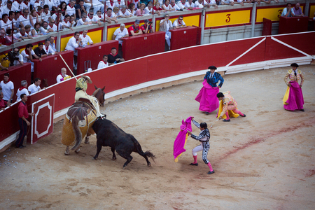 navarra: Bullfighting. Corrida in Pamplona, Navarra, Spain, 10 of july 2016. MealnReal