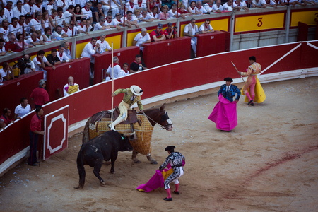 Bullfighting. Corrida in Pamplona, Navarra, Spain, 10 of july 2016. MealnReal