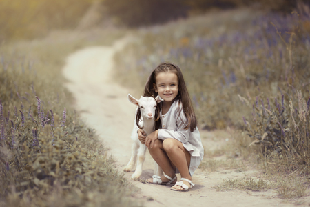 Little girl plays and goat-ling in country, spring or summer nature outdoor. Stock Photo