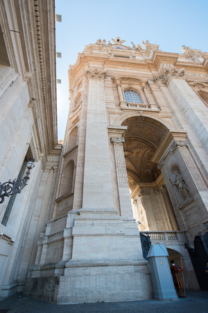 St. Peters Cathedral, Vatican, wide angle view, detail.