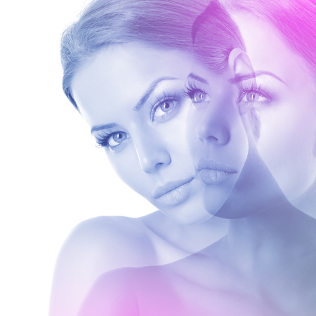 Double exposure of attractive young woman toned blue and pink over on white background, Beauty portrait of pretty girl. Beautiful female face. Womens health and beauty concept.