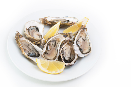 Fresh oysters. Raw fresh oysters on white round plate, image isolated, with soft focus. Restaurant delicacy. Saltwater oysters Reklamní fotografie