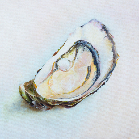 Artwork of fresh oyster. Oil painting on canvas of raw fresh oyster. Restaurant delicacy. Illustration of saltwater oyster.