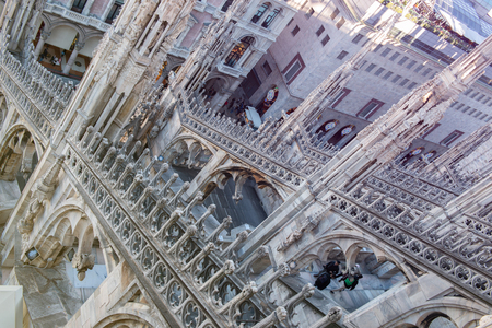 Roof of Milan Cathedral, Duomo di Milano, Italy, one of the largest Gothic churches in the world. 写真素材