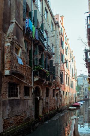 Ð¡hannel with boats in Venice, Italy. Beautiful romantic italian city. Stock Photo