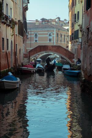 Сhannel with boats in Venice, Italy. Beautiful romantic italian city. Stock Photo - 123513155