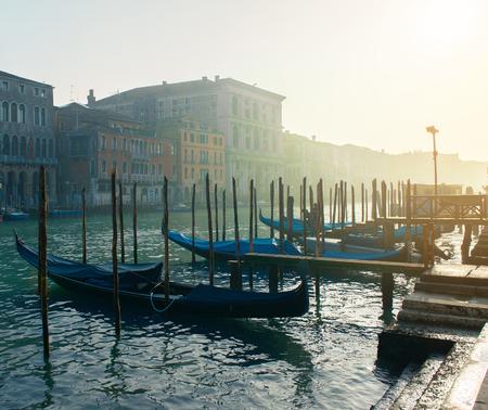 Grand Сhannel with gondolas, Venice, Italy. Beautiful romantic italian city.