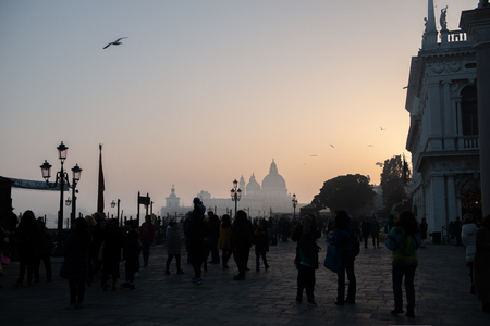 Sunset in Venice, Italy. Beautiful ancient romantic italian city.