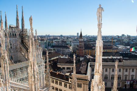 Roof of Milan Cathedral, Duomo di Milano, Italy, one of the largest Gothic churches in the world. Stock Photo