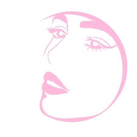 Fashion illustration of girl. Continuous line drawing of female face, minimalism, make-up, woman beauty, vector illustration for t-shirt design, print graphics style. Tattoo, logo. Woman's portrait.