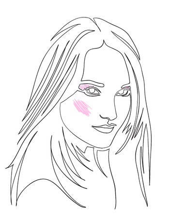 Fashion illustration of girl. Continuous line drawing of female face, minimalism, make-up, woman beauty, vector illustration for t-shirt design, print graphics style. Tattoo, logo. Womans portrait.