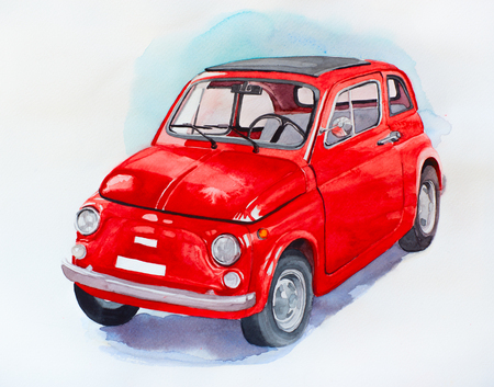 Car watercolor illustration. Vintage hand drawn automobile. Red auto isolated on white background. Transportation vehicle, quick sketch. Pictured retro motor car Фото со стока