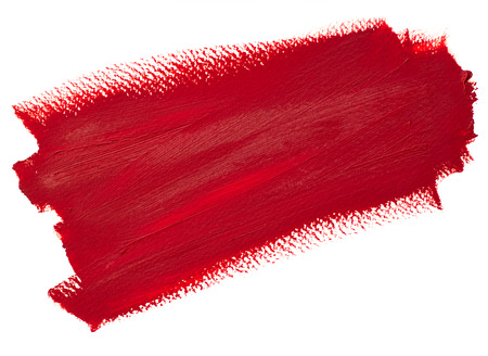 Deep red stroke, oil painting on canvas. Stripe. Artistic background, stain illustration. Design element,  brushstroke.