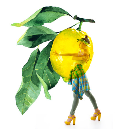 Full-length portrait Double exposure of watercolor lemons with full-length portrait of beautiful dancing girl in green pants, lime top and yellow shoes. Teen girl hip-hop dancer with hand drawn vibrant juicy lemons Stock Photo - 123014042