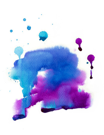 Watercolor abstract drawing. Beautiful violet purple background, stain illustration. Design element. Splash.