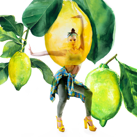 Double exposure of watercolor lemons with full-length portrait of beautiful dancing girl in green pants, lime top and yellow shoes. Teen girl hip-hop dancer with hand drawn vibrant juicy lemons Stock Photo - 122781755