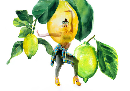 Double exposure of watercolor lemons with full-length portrait of beautiful dancing girl in green pants, lime top and yellow shoes. Teen girl hip-hop dancer with hand drawn vibrant juicy lemons