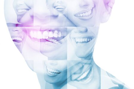 Laughing women and man with great teeth over white background. Healthy beautiful male and female smile. Teeth health, whitening, prosthetics and care. Set of perfect smiles. Happy people, detail. Image toned