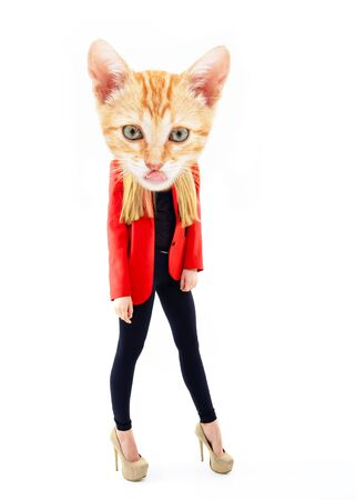 Attractive fashion girl with head of red kitten muzzle with tongue, full length portrait over white, funky artwork. Contemporary art collage. Minimal concept.