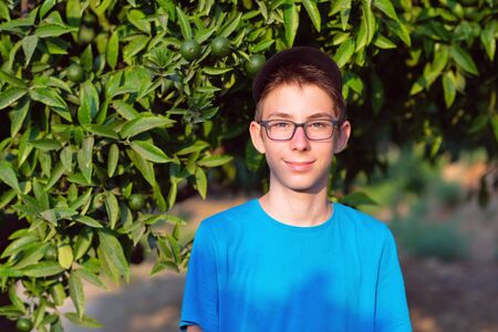 Handsome young boy with glasses in citrus garden in Sicily, Italy. Beautiful calm smiling teen boy at Mediterranean mandarin and lemon grove. Travel, summer vacation, tourism, teenage lifestyle.