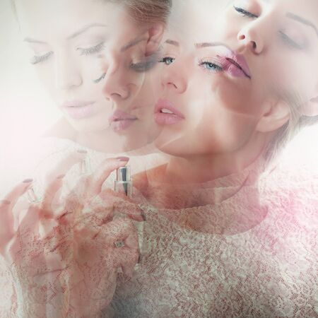 Double exposure of girl with perfume, young beautiful woman holding bottle of perfume and smelling aroma, toned soft beige and noise added