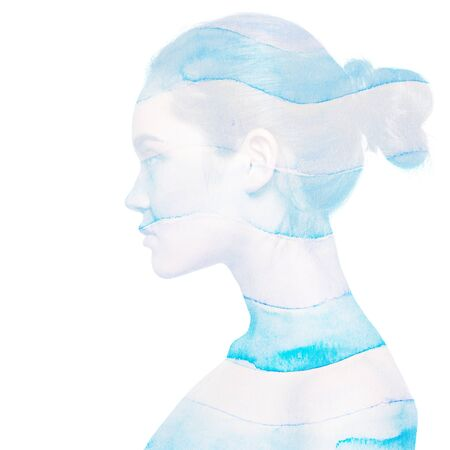 Double exposure portrait of beautiful girl in profile and  striped watercolor drawing. Young womans face and watercolor of blue and white stripes. Design elements. Abstract background of sea or ocean.