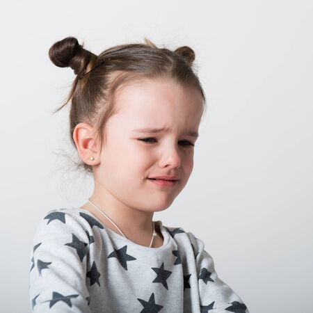 Crying little girl. Upset kid. Sad kid portrait. Cute little gilr crying and does not want to go in bed at night