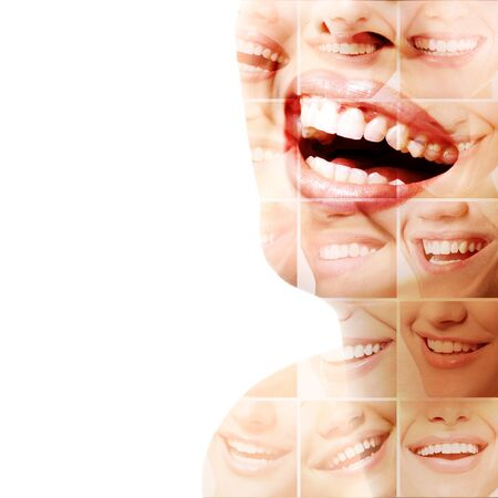 Double exposure of laughing people with great teeth and smiling faces. Healthy beautiful smiles. Teeth health, whitening, prosthetics and care. Positive expressions