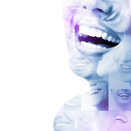 Double exposure of laughing people with great teeth and smiling faces. Healthy beautiful smiles. Teeth health, whitening, prosthetics and care. Positive expressions Stock Photo