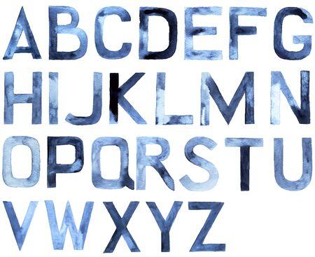 Watercolor alphabet. Latin ABC, hand drawn design element, vector illustration