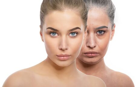 Face of young beautiful girl and old woman. Beauty treatment, aging and youth, lifting, antiaging, skincare, hydration, plastic surgery, rejuvenation, skincare concept. Comparison before and after procedures.