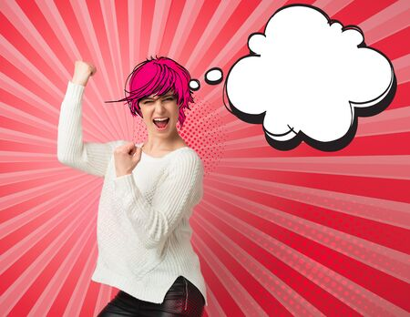 Pop Art comic style, Beautiful young woman happy and excited expressing winning gesture with speech bubbles and halftone dots design, creative collage. Successful and celebrating victory, triumphant concept