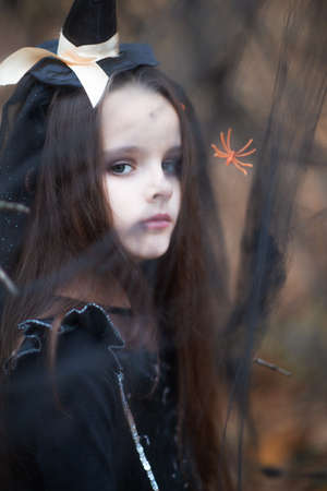 Llittle girl dressed in a witch dress and hat walks in fall forest among the web with spiders. Halloween horror. Witches in darkness