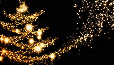 New Year eve background with Christmas Tree mades of glowing golden stars. Abstract holiday backdrop includes copy space for message.