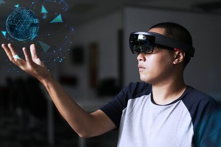 Experience Virtual Reality world with hololens. Mixed reality future technology concept.