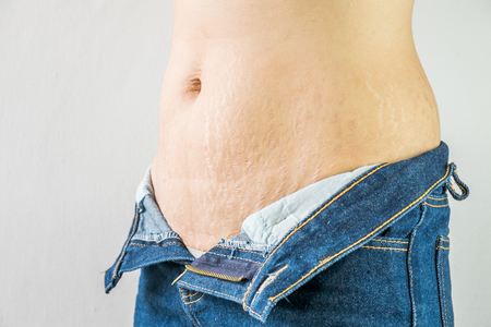 Abdominal pattern with blue jeans
